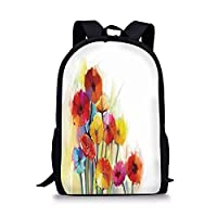 School Bags Watercolor Flower Home Decor,Gerbera Bouquets Romance Elegance Fragrance Blossom Beauty,Red Yellow for Boys&Girls Mens Sport Daypack