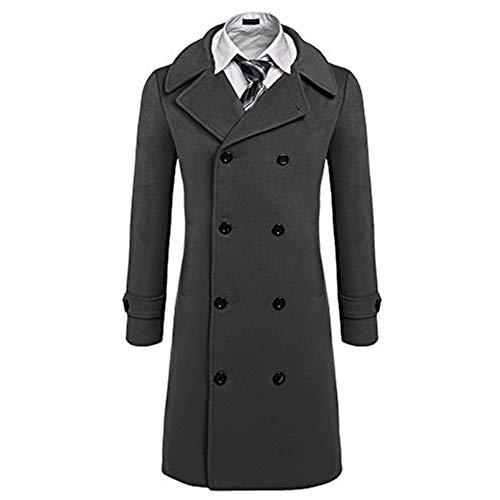 Wolle Peacoat Jacke (Coofandy Herren Mischen Sie Art und Weise klassische Wolle Zweireihig Pea Coat Mittel Grau)
