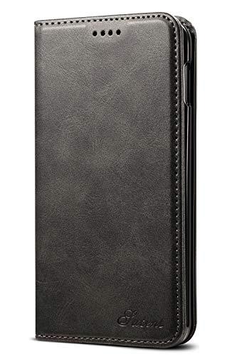Leder Case Handyhülle Compatible with Samsung Galaxy 10E Flip Case Handytasche mit Kredit Karten Hülle Geldklammer Unsichtbar Magnet und Stand Funktion Schutzhülle,Schwarz