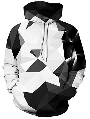 Spreadhoodie Geometric Design Jumper Herren Damen Kristall Diamant Geometrisch Gedruckt Pullover Hoody Sweatshirt für Workout Schwarz Weiß L Diamant Pullover