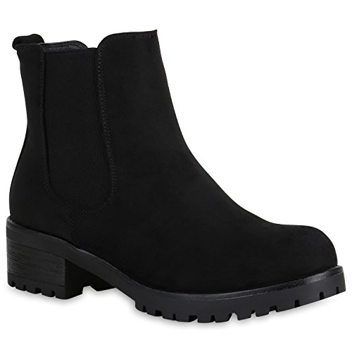 Damen Schuhe Chelsea Boots Wildleder-Optik Stiefeletten Leicht Gefüttert 151396 Schwarz Avelar 36 Flandell