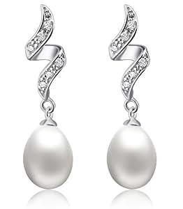 Arco Iris Jewelry Sp010E1 Boucles d'oreilles goutte avec perle de culture 9mm et zircone cubique Argent sterling