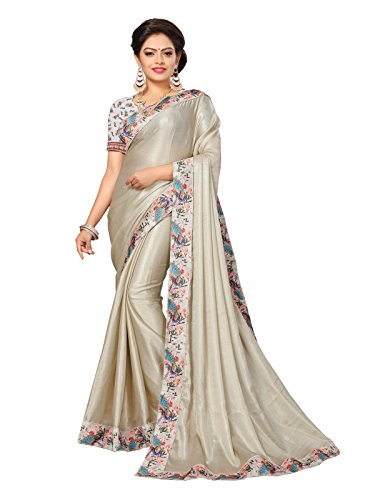 Varayu Women's Shimmer Party Wear Hevay Bordered Saree With Unstitched Blouse(Grey,668SJ682)