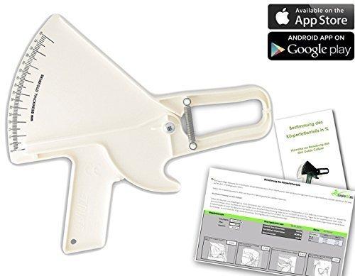 Slim Guide Caliper Fettmesser, deutsches Handbuch, Android- Online- und Excel-Körperfett-Berechnungstool, weiß