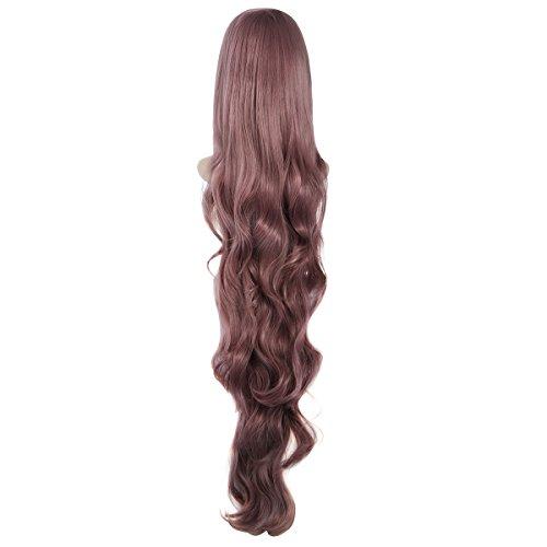 (Pixnor Neue Mode Frauen Dame langes lockiges, welliges Haar voller Perücken Cosplay Party Anime Lolita Perücke 100cm (Taro lila))