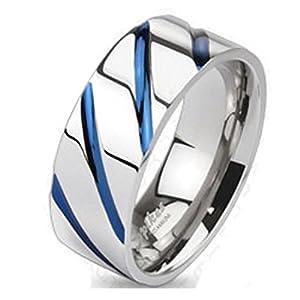 Bungsa Titan Ring Silber-Blau – Titanium Ring mit Blauen Streifen für Damen & Herren – Silber-Blauer Damenring/Herrenring – SCHMUCKRING für Frauen & Männer – Blue Stripes Titan Ringe