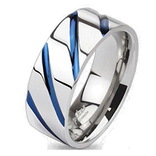 Bungsa 67 (21.3) Titan Ring Silber-Blau - Titanium Ring mit Blauen Streifen für Damen & Herren - Silber-Blauer Damenring/Herrenring - SCHMUCKRING für Frauen & Männer - Blue Stripes Titan Ringe