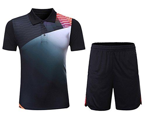 Kuncg Badminton Kleidung Anzug Benutzerdefinierte Frühling Sommer Herren und Jungen Sportbekleidung Schnell Trocknende Kurzärmelige Freizeitkleidung Schwarz XL