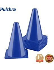 PULCHRA Training Traffic Cones Set of 12 Plastic Small Collapsible Soccer Ball Football Sports Cones Speed Workouts for Speed and Agility Training Practice Equipment (4 Colours)