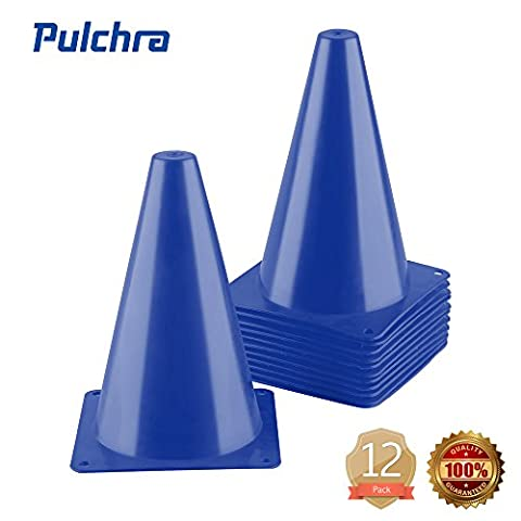 PULCHRA Training Traffic Cones Set of 12 Plastic Small Collapsible Soccer Ball Football Sports Cones Speed Workouts for Speed and Agility Training Practice Equipment (4 Colours) (Blue)