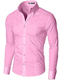 MODERNO Chemise Homme Slim Fit Business Manches Longues Col Boutonné (MSSF501)
