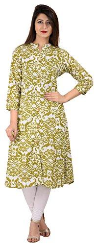 KAILANG INDO Women's Cotton Achkan Kurta (KIA0118L10001--XL, Green and White, X-Large)