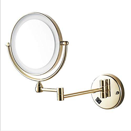 Espejo de maquillaje con luz LED, espejo de baño Espejo de maquillaje plegable, aplique de pared espejo...