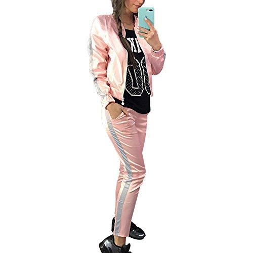 Wenyujh Femmes Veste Blouson Manches Longues et Pantalons de Sport 2 Pièces Ensemble Survêtement Sportswear Fashion Casual Printemps Automne Rose