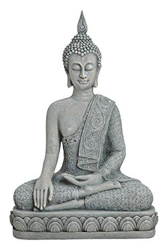 XL Buddha Figur sitzend 39cm groß grau Feng Shui Buddhismus