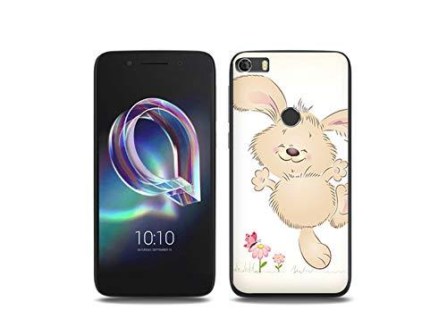etuo Handyhülle für Alcatel Idol 5S - Hülle, Silikon, Gummi Schutzhülle Fantastic Case - Glückliches Kaninchen