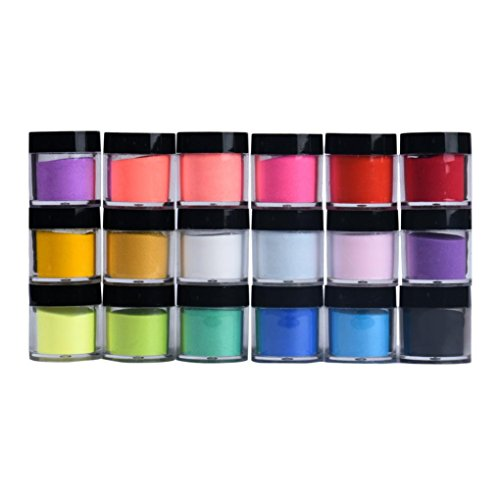 Longra 18 couleurs Conseils d'art d'ongle acrylique Poudre de poudre de gel UV Décoration de design Manucure 3D ongles en poudre miroir en acier vernis à ongles en pâte à ongles (Multicolore)