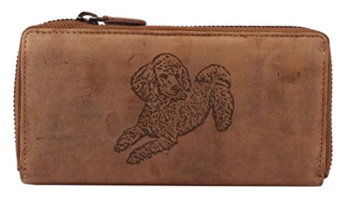 Greenburry Vintage Damen-Geldbörse mit Hunde-Motiv Pudel l Leder-Portemonnaie für Hundefreunde l Damen-Lederbörse mit Hunde-Motiv l 19x10x2,5 cm