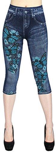dy_mode Damen Capri Jeggings 3/4 Leggings in Jeans Optik - CLG057-058 (CLG057-OneSize Gr.36-40)