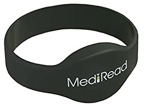 MediRead Medical Alert Bracelet, Read/Update Using Smartphone, Data Stored On Bracelet Itself, Light, Waterproof, Works Anywhere - Black - Small