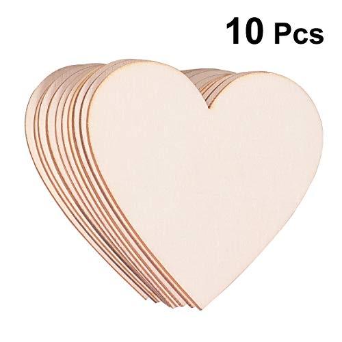 SUPVOX 10 stück Herz Holzscheiben Hochzeit Mittelstücke Holz Herz Verzierungen DIY Dekoration 80MM (Hochzeit Mittelstücke Holz)
