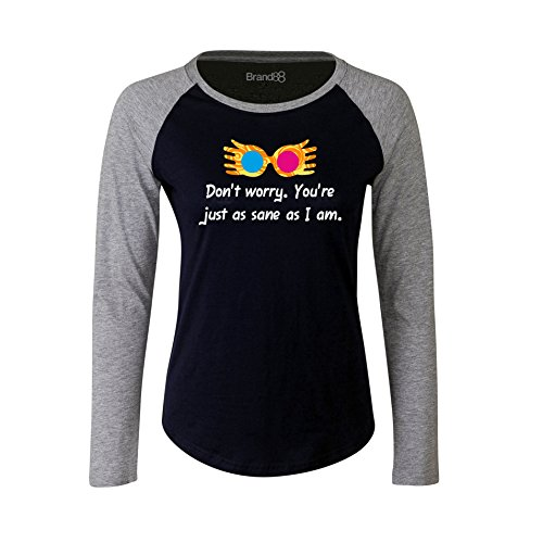Brand88 - You're Just As Sane As I Am Damen Langarm Baseball T-Shirt Blau & Grau