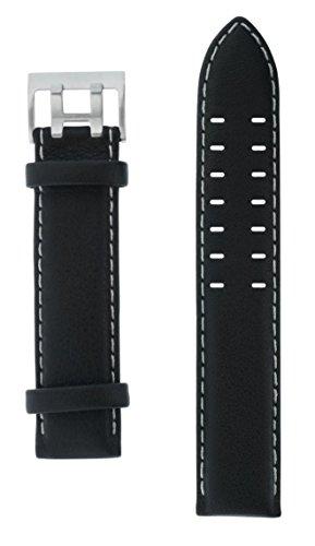 Uhrenarmband Armband Lederarmband schwarz 22 mm silberfarbene Doppeldornschließe beige Naht glatt vo