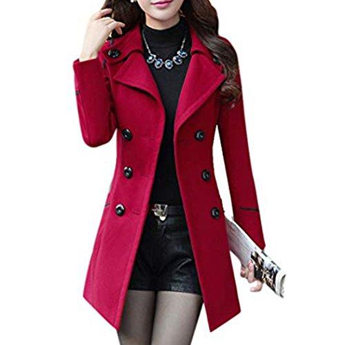 HANMAX Damen Winter Mantel Klassischen Doppelten Breasted Trenchcoat Warm Schlank Vintage Jacke Windmantel Outwear