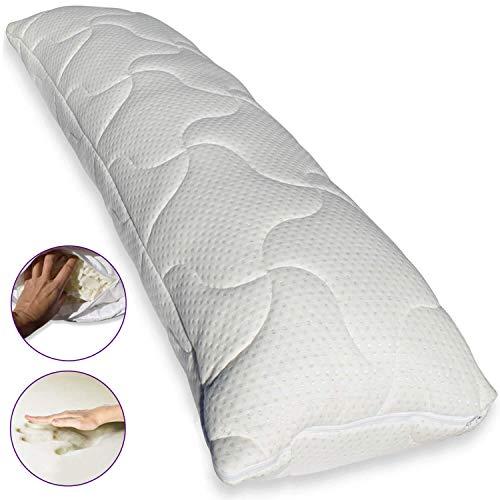 Traumreiter Visco-Dream Gel Seitenschläferkissen Memory Foam Gelschaum Flocken Füllung | schwere Premium-Qualität | Body Pillow Schlafrolle 140x40 cm