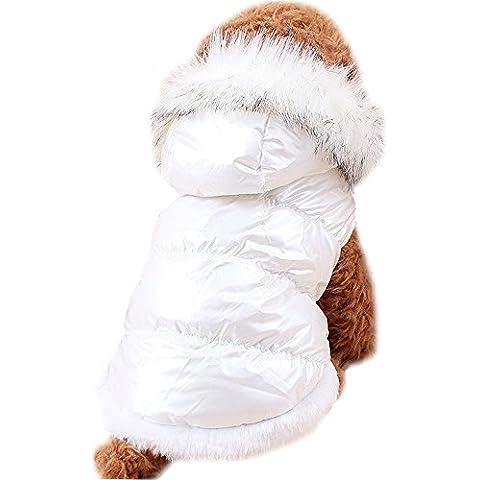 Navidad Para Mascotas Ropa Para Perros de Down Chaquetas de Invierno Ropa de Algodón Caliente Para Gatos del Perro (XL, Blanco)