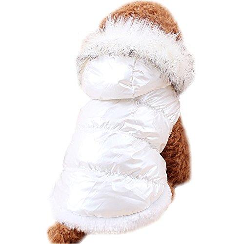 Navidad Para Mascotas Ropa Para Perros de Down Chaquetas de Invierno Ropa de Algodón Caliente Para Gatos del Perro (L, Rojo)