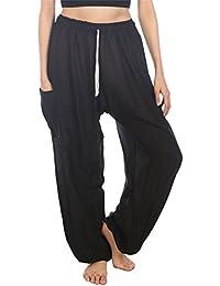 Lofbaz Mujeres Harem Pantaloni Harén de cintura de cordón ... ad77e39e9855