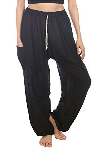 Lofbaz Pantaloni Coulisse da Donna Pavone Funky Floral Harem Pants Taglia Unica Soild Nero