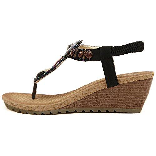 Minetom donna zeppa sandali Cinturini caviglia in stile boho estate scarpe Black