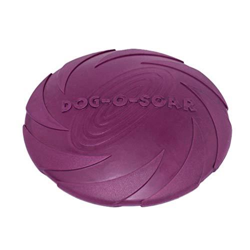 Linnuo Frisbee Perro Resistente Vuelo Disco Juguetes Interactivos Animal Juguetes de Entrenamiento Suave para Mascotas (Morado,L)
