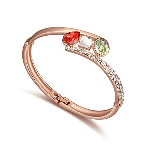 Aooaz oro rosa placcato braccialetto delle donne, matrimonio bracciale braccialetto CZ Zirconia cubica, ovale piazza tondo verde