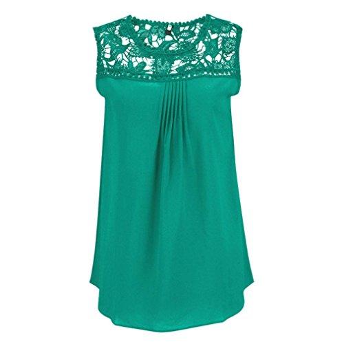 OSYARD Damen Mode Sommer Übergröße Solide Ärmellos Blusen Chiffon Spitze Sleeveless Patchwork O-Neck Tops T-Shirt(EU 52/5XL, Grün)