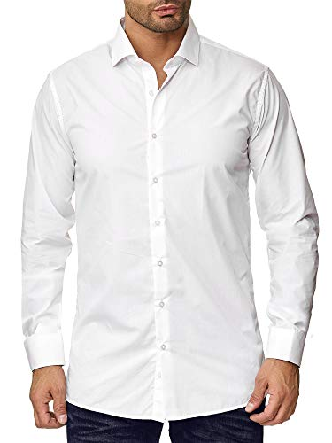 BARBONS Herren-Hemd BÜGELFREI – Slim Fit – Extra Rumpflänge – Langarm-Hemd für Business – A - Weiß - XL (43-44)
