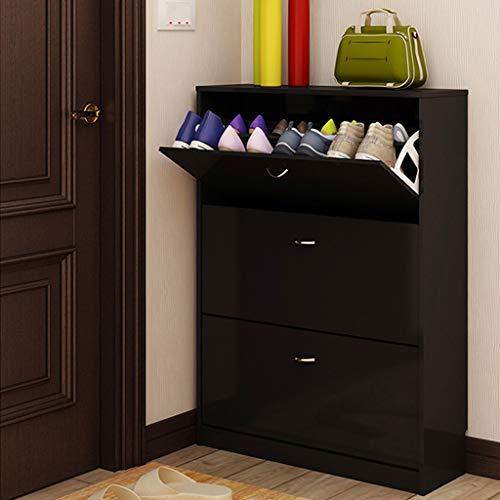 QXX-Shoe Racks Nordic Fashion Schuhschrank Dreitürigen Haushalt Staubspeicher Rack Multifunktions Kombination Tür Kabinett (Color : Black, Size : 60cm)