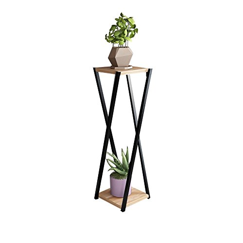 ZWD Le support de plante de fer forgé de salon, double couche a caché l'usine multifonctionnelle de plantes en pot d'assemblage de bureau de fleur a examiné le noir et le noyer clair Produits menagers
