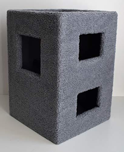 Lemio - Kratzbaum Cube Kratzrolle Kratztonne Katzenbaum in grau oder beige (grau)