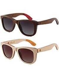 WOLA lunette de soleil bois AIR lunettes style wayfarer femmes hommes Beige