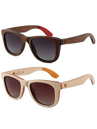 WOLA Damen Herren Sonnenbrille Holz AIR eckige Brille dicke Brücke Skateboard Holz polarisiert UV400 Ahorn Doppelpack Unisex Damen L - Herren M