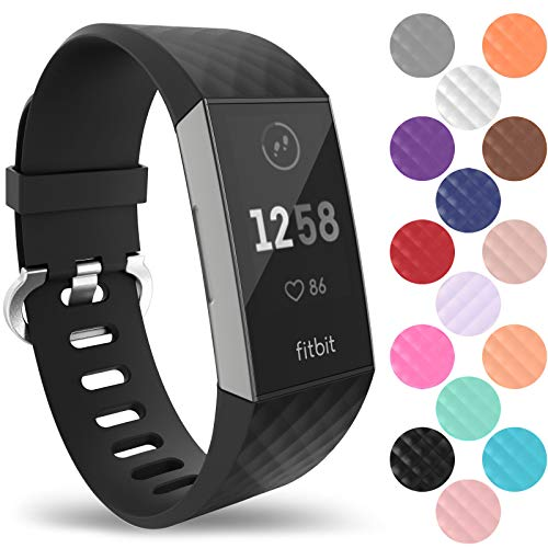 Yousave Accessories Fitbit Charge 3 Armband, Silikon Ersatzarmband für Fitbit Charge3 Fitness Tracker, Sport Schrittzähler Armband, Fitbit Charge 3 Armbänder - Groß - Schwarz