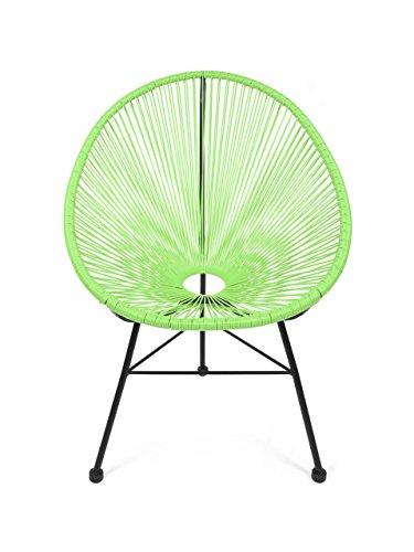 Retro Lounge Sessel Acapulco Mexiko Design Indoor & Outdoor Rahmen & Füße Pulverbeschichtet; Farbe Grün