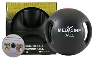 Fitness-Mad Medicine Ball double poignée et VCD Ballon de gymnastique 4