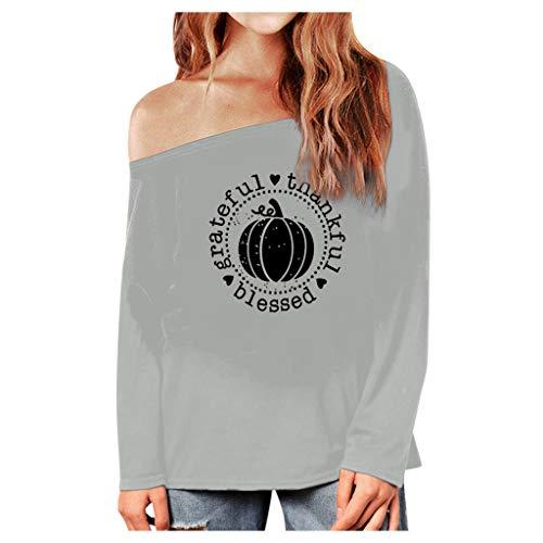 GOKOMO Damen Halloween Fashion Warm Langarm Print Bluse T-Shirtwarmes LangäRmeliges Bedrucktes Hemd-Modehemd FüR Halloween Frauen(Grau-1,Small) (Schwert Und Schädel-brettspiel)