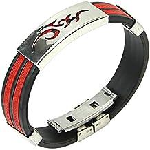 Contever® Silicone Réglable Bracelet en acier inoxydable Bangle Noir et Rouge Couleur Wristband pour les hommes