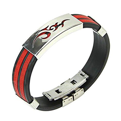 Contever® Bracciale Braccialetto Wristband in Silicone Regolabile Acciaio Inox per Gli Uomini - Rosso Nero