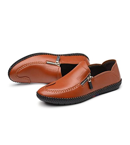 GRRONG Mode Coréenne Hommes Occasionnels Chaussures En Cuir Pour Hommes Chaussures Pieds Shoes Souliers Simples yellow